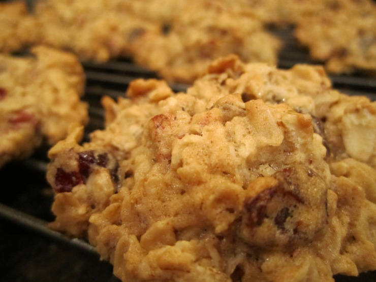 Black pepper oatmeal cookies with cranberries and walnuts